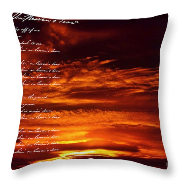 Knockin' On Heaven's Door Throw Pillow by Miryam  UrZa
