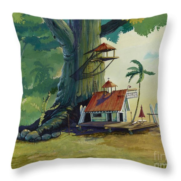 Ko' olau Surf Shack Throw Pillow by Bill Shelton