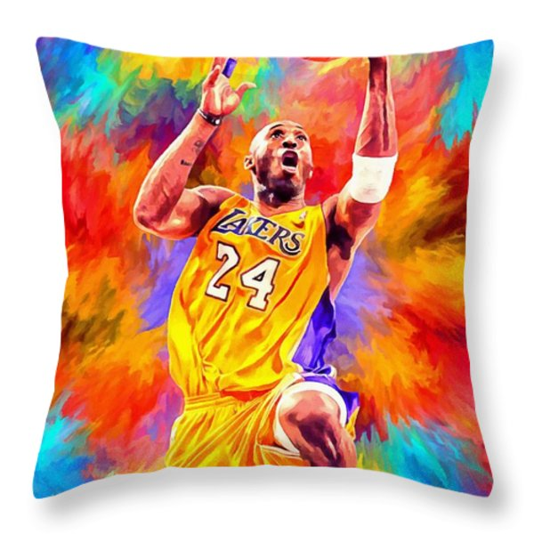 Kobe Bryant Basketball Art Portrait Painting Throw Pillow by Andres Ramos