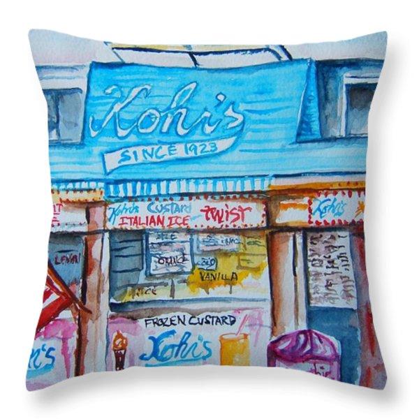 Kohrs Frozen Custard Throw Pillow by Elaine Duras