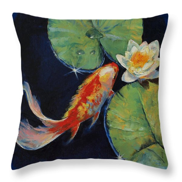 Koi and White Lily Throw Pillow by Michael Creese