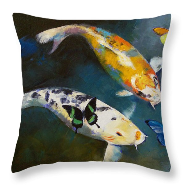 Koi Fish and Butterflies Throw Pillow by Michael Creese