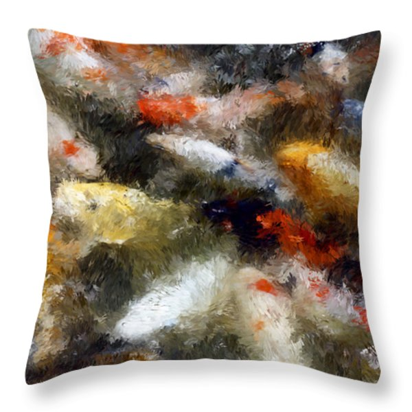 Koi Fish Of Sanjusangendo Temple - Kyoto Japan Throw Pillow by Daniel Hagerman