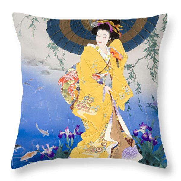 Koi Throw Pillow by Haruyo Morita