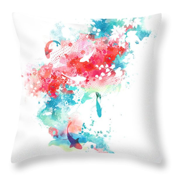 koi life in water color Throw Pillow by Budi Satria Kwan