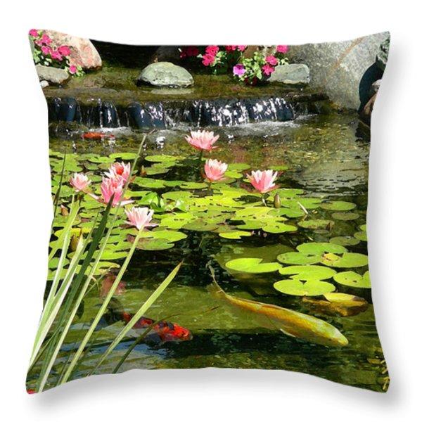 Koi Pond Throw Pillow by Doug Kreuger