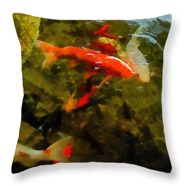 Koi Pond Throw Pillow by Michelle Calkins