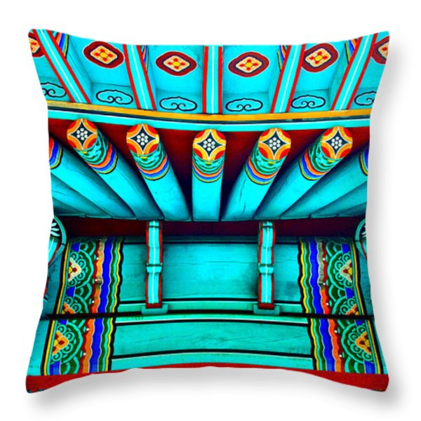 Korean Pagoda Details Throw Pillow by Karon Melillo DeVega