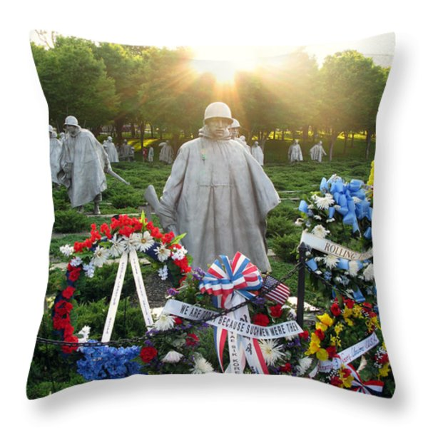 Korean War Memorial In Dc Throw Pillow by Olivier Le Queinec