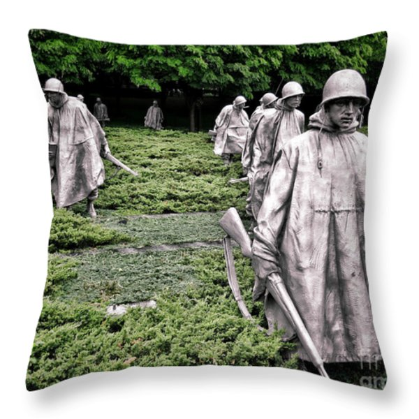 Korean War Veterans Memorial Throw Pillow by Olivier Le Queinec