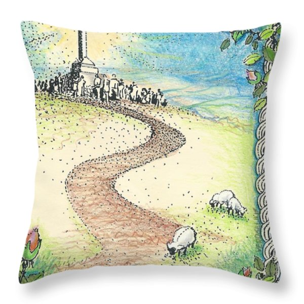 Krizevac - Cross Mountain Throw Pillow by Christina Verdgeline