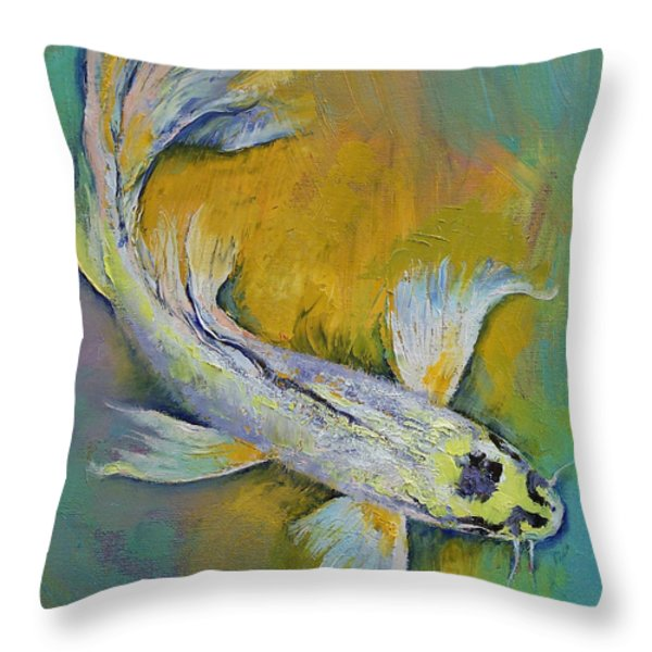Kujaku Butterfly Koi Throw Pillow by Michael Creese