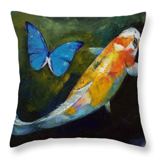 Kujaku Koi and Butterfly Throw Pillow by Michael Creese