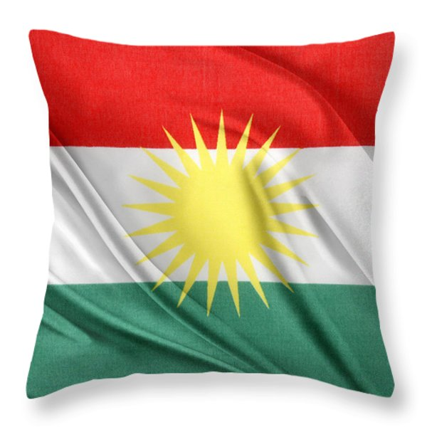 Kurdistan Flag Throw Pillow by Les Cunliffe