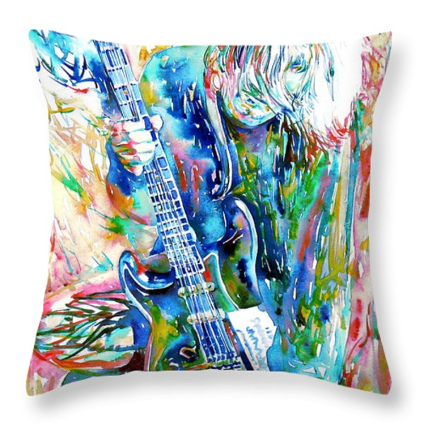 Kurt Cobain Portrait.1 Throw Pillow by Fabrizio Cassetta