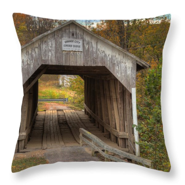 Ky Hillsboro Or Grange City Covered Bridge Throw Pillow by Jack R Perry