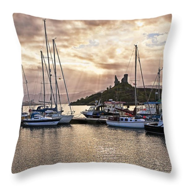 Kyleakin Harbor And Castle Moil Throw Pillow by Marcia Colelli