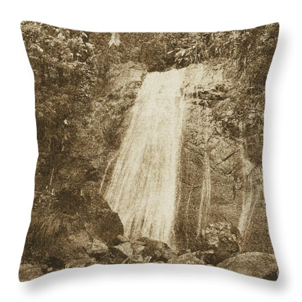 La Coca Falls El Yunque National Rainforest Puerto Rico Print Vintage Throw Pillow by Shawn O'Brien