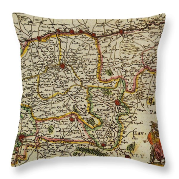 La Fandre Gallicane Vintage Map Throw Pillow by Inspired Nature Photography By Shelley Myke