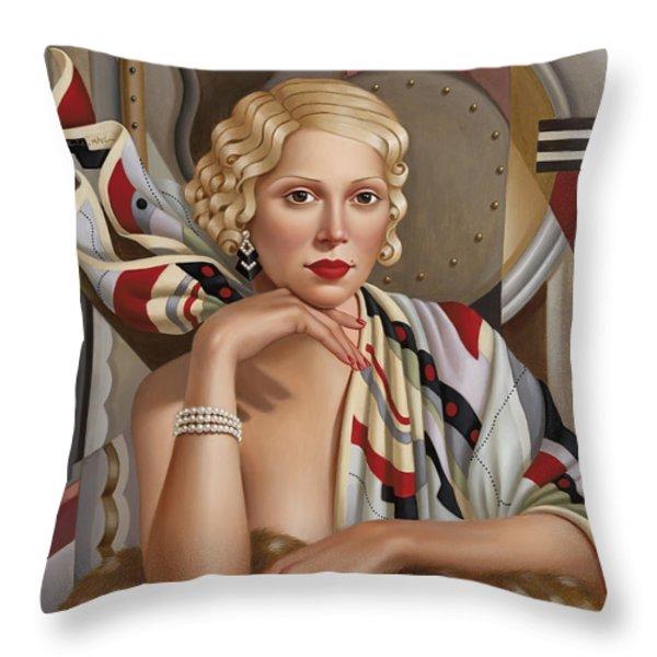 La Femmeen Soiehi  Throw Pillow by Catherine Abel