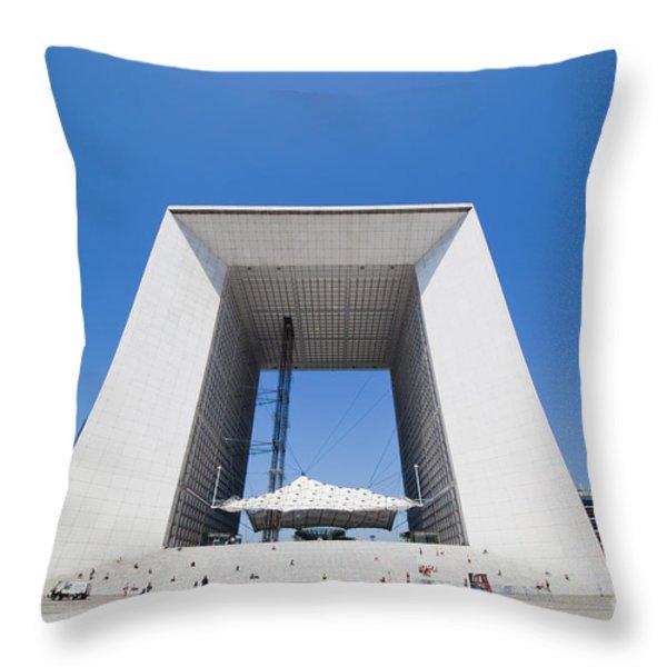 La Grande Arch in La Defense business district Paris France Throw Pillow by Michal Bednarek