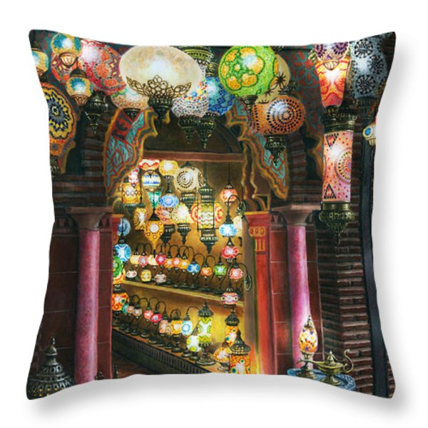 La Lamparareia en la Noche Albacin Granada Throw Pillow by Richard Harpum