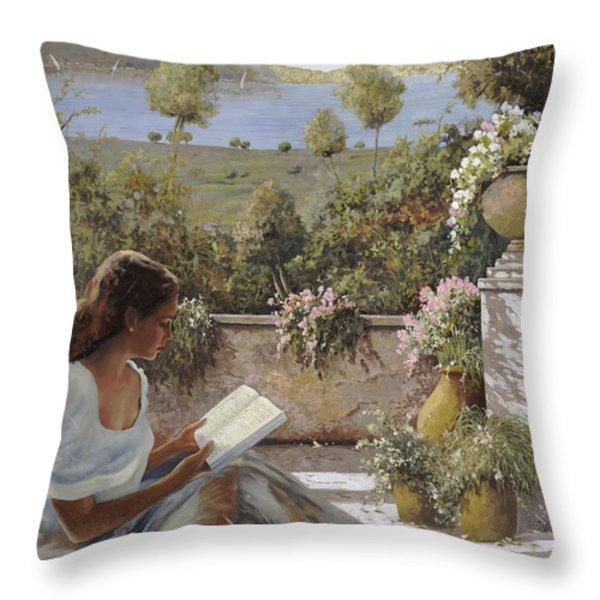 La Lettura All'ombra Throw Pillow by Guido Borelli
