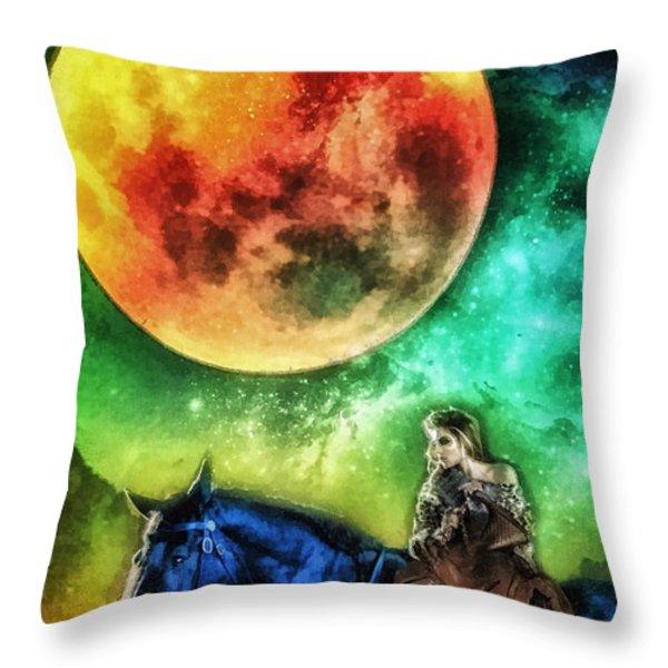 La Luna Throw Pillow by Mo T