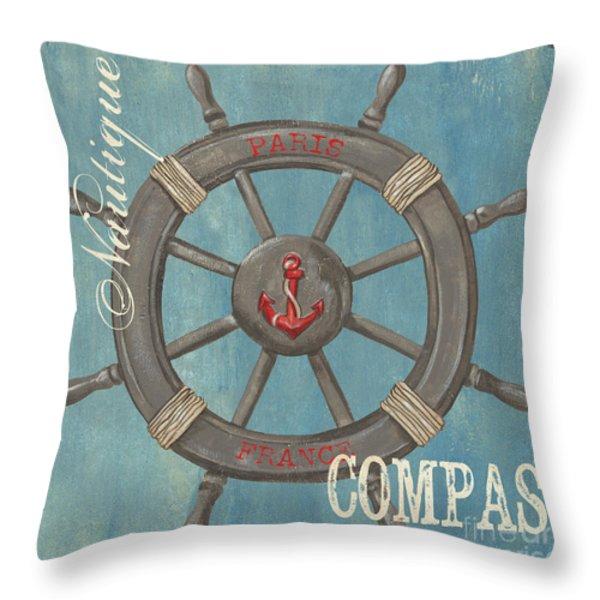 La Mer Compas Throw Pillow by Debbie DeWitt