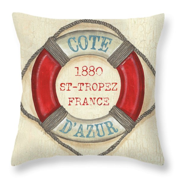 La Mer Cote D'Azur Throw Pillow by Debbie DeWitt