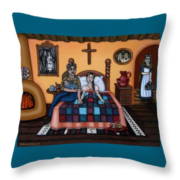 La Partera or The Midwife Throw Pillow by Victoria De Almeida