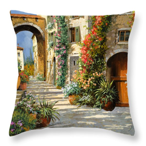 La Porta Rossa Sulla Salita Throw Pillow by Guido Borelli