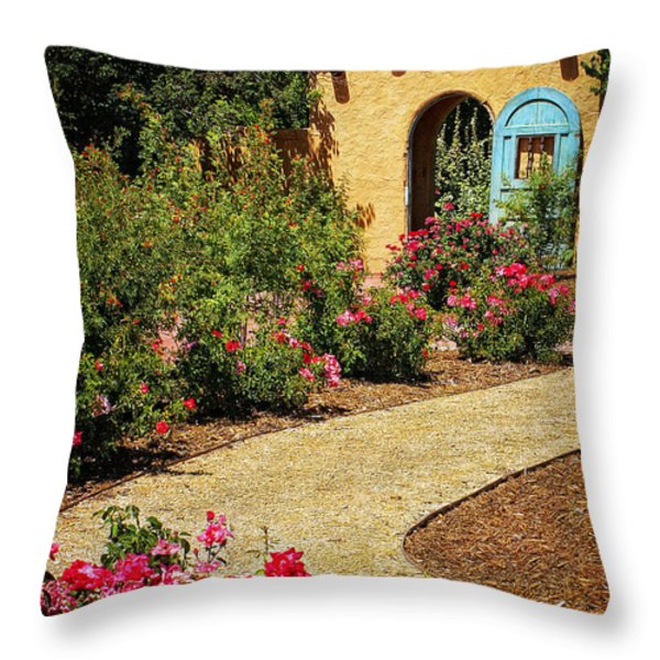 La Posada Gardens in Winslow Arizona Throw Pillow by Priscilla Burgers