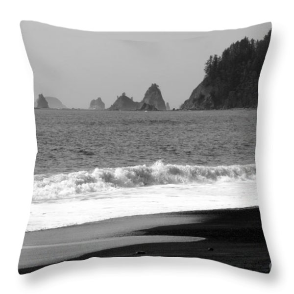 La Push Beach Black And White Throw Pillow by Carol Groenen