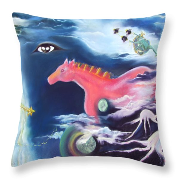 La Reverie Du Cheval Rose Or Dream Quest Of The Pink Horse. Throw Pillow by Marie-Claire Dole