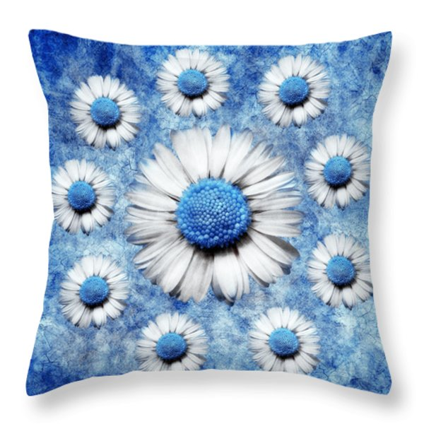 La Ronde Des Marguerites - Blue v05 Throw Pillow by Variance Collections