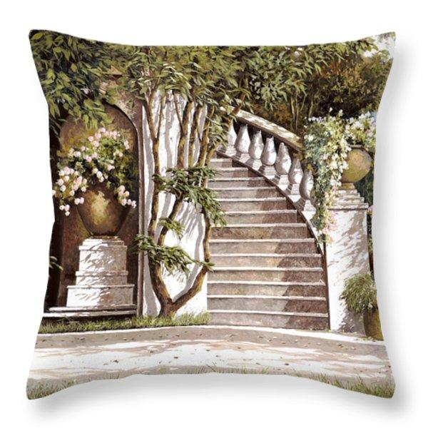 la scalinata Throw Pillow by Guido Borelli