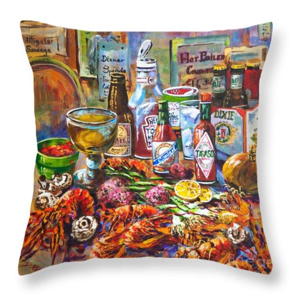 La Table De Fruits De Mer Throw Pillow by Dianne Parks
