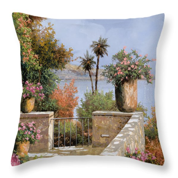 la terrazza un vaso due palme Throw Pillow by Guido Borelli