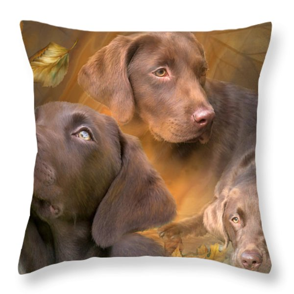 Lab In Autumn Throw Pillow by Carol Cavalaris