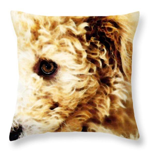 Labradoodle Dog Art - Doodle Bug Throw Pillow by Sharon Cummings