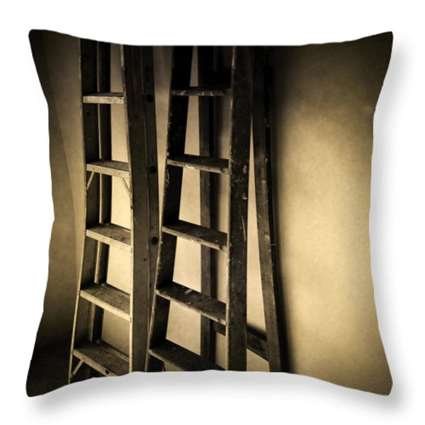 Ladders Throw Pillow by Les Cunliffe