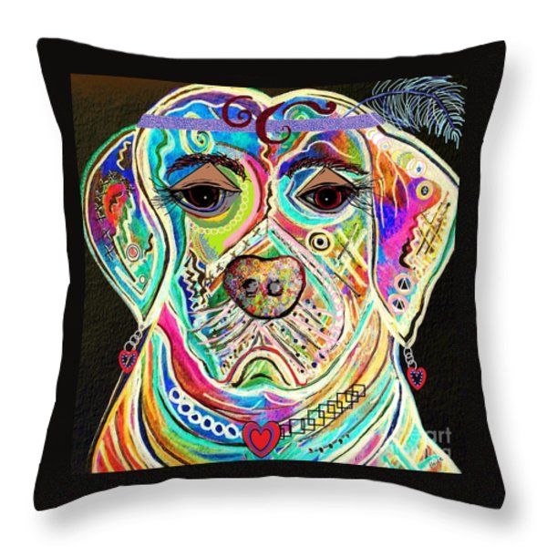 LADY BOXER Throw Pillow by Eloise Schneider