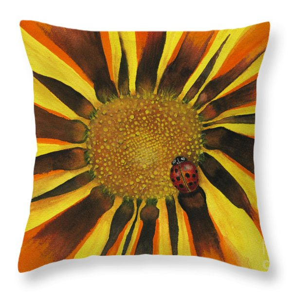 Lady Bug Throw Pillow by Nan Wright