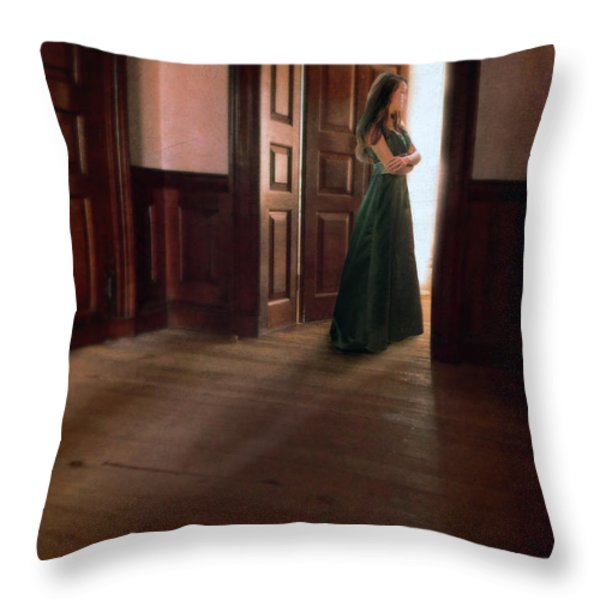 Lady in Green Gown in Doorway Throw Pillow by Jill Battaglia
