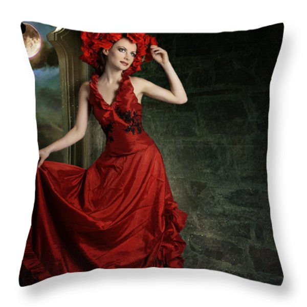 Lady In Red Throw Pillow by Ester  Rogers