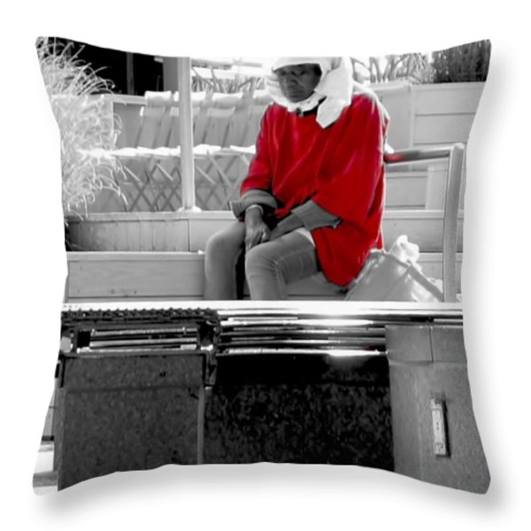 Lady In Red Throw Pillow by Lilliana Mendez