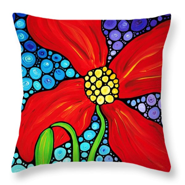Lady In Red - Poppy Flower Art by Sharon Cummings Throw Pillow by Sharon Cummings