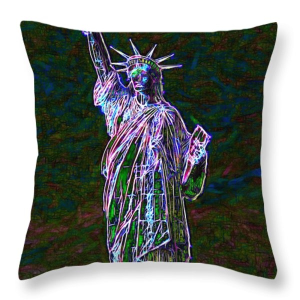 Lady Liberty 20130115 Throw Pillow by Wingsdomain Art and Photography