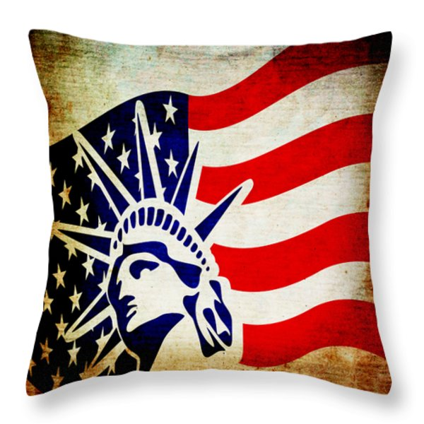 Lady Liberty Keeps Watch Throw Pillow by Angelina Vick